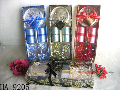 Scented candles with glass holder set