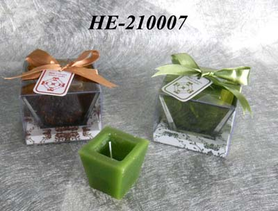 Scented candle with glass holder set