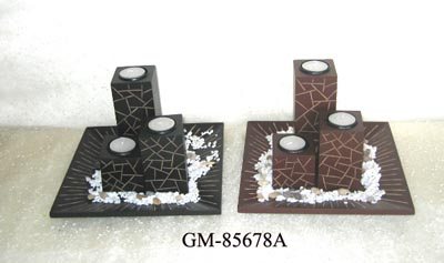 Wooden candle holder set