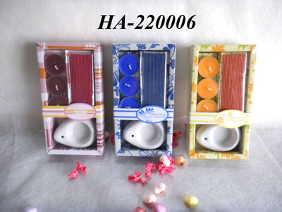 Incense and candles with holder set