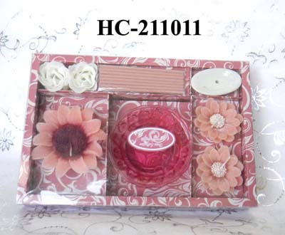 scented candles and incense with glass holder in gift box