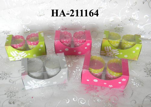 scented candles with printed glass holders in colored box